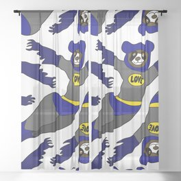 Flying LOVE Bear Bat Sheer Curtain
