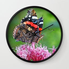Red Admiral on a flower Wall Clock
