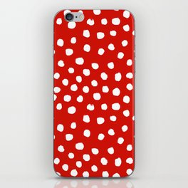 Christmas dots painted minimalist dotted pattern holiday red and white iPhone Skin
