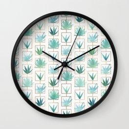 Mid Century Succulents Wall Clock