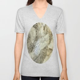 White Marble in Earth Tones Unisex V-Neck