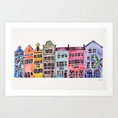 Rainbow Row – Charleston Art Print