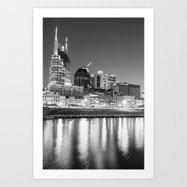 Nashville Skyline Nights - Vertical Black and White Art Print