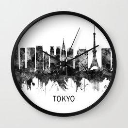Tokyo Japan Skyline BW Wall Clock