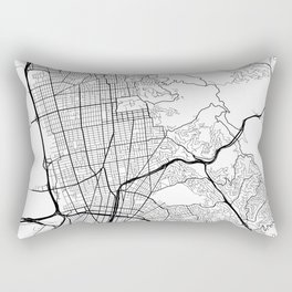 Berkeley Map, USA - Black and White Rectangular Pillow