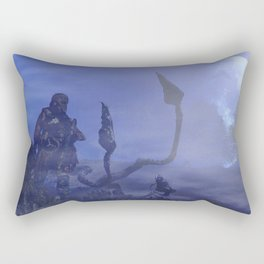 creepy soldier with monster in the moonlight Rectangular Pillow