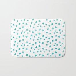 Small Blue Watercolor Abstract Polka Dots Bath Mat