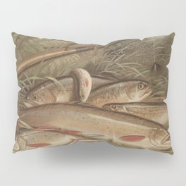 Vintage Painting of Caught Brook Trout (1868) Pillow Sham