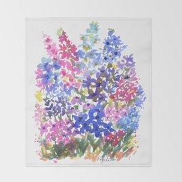 Blue Delphinium Garden Throw Blanket