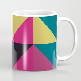 Triangle Shapes Texture, Retro Style, Purple, Turquoise, Yellow, Pink and Black Coffee Mug