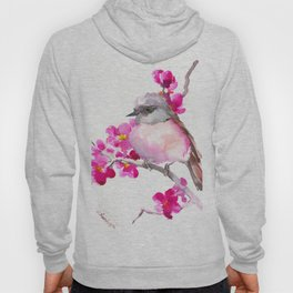 Pink Robin and Pink Flowers, Nursery Art Hoody