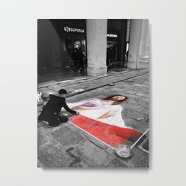 Street Art in Bologna Black and White Photography Color Metal Print