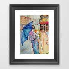 Paris, vintage, retro, love, painting. Framed Art Print
