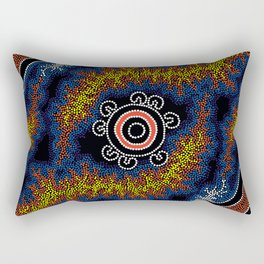 The Heart of Fire - Authentic Aboriginal Art Rectangular Pillow