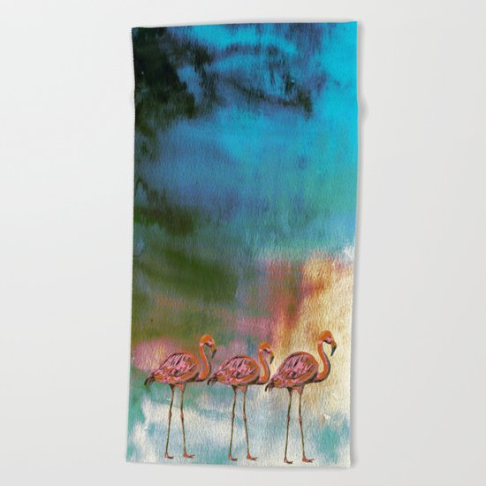 Tropical Flamingo Illustration on watercolor - Birds Animals  #Society6 Beach Towel