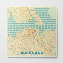 Auckland Map Retro Metal Print