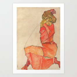 Egon Schiele - Kneeling Female in Orange-Red Dress, 1910 Art Print