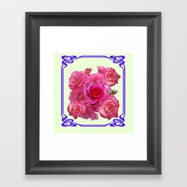 RED & PINK  ART NOUVEAU ROSES Framed Art Print