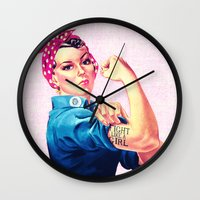 sayings Wall Clocks featuring Fight Like A Girl Rosie The Riveter Girly Mod Pink by Girly Road