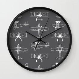 Biplanes // Charcoal Wall Clock