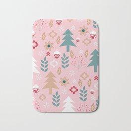 Cute Christmas in pink Bath Mat