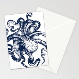 Octopus Nautical Navy and White Stationery Cards