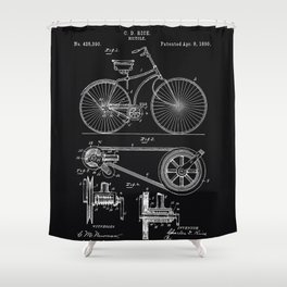 Vintage Bicycle patent illustration 1890 Shower Curtain