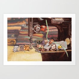 Critter Sewing Time Too Art Print