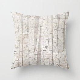 White Birch Trees Throw Pillow