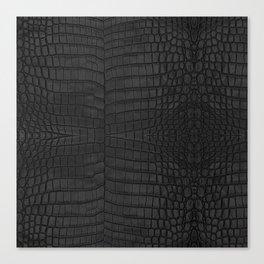 Black Crocodile Leather Print Canvas Print