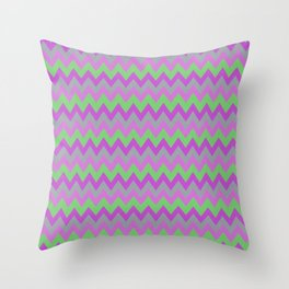 pink purple and green chevron Throw Pillow