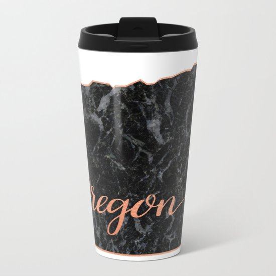Oregon Rosegold Marble Map Outline Metal Travel Mug