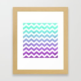 Purple Mint Aqua Ombre Chevron Pattern Framed Art Print
