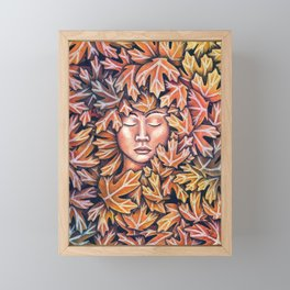 lady in leaves Framed Mini Art Print
