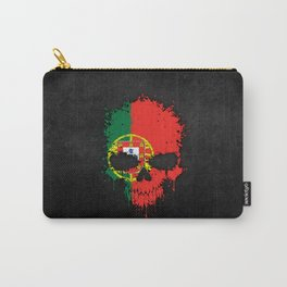 Flag of Portugal on a Chaotic Splatter Skull Carry-All Pouch