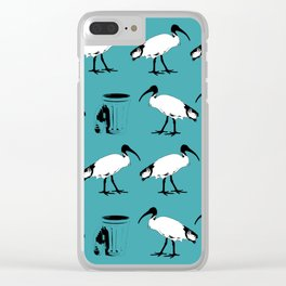 Bin chickens Teal Clear iPhone Case