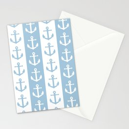 Nautical Sailor Stripes with Anchor Pattern Pale Blue 241 Stationery Cards