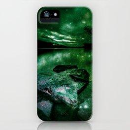 Magical Mountain Lake Deep Green iPhone Case