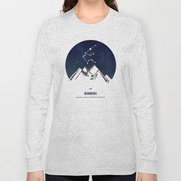 Astrology Aquarius Zodiac Horoscope Constellation Star Sign Watercolor Poster Wall Art Long Sleeve T-shirt