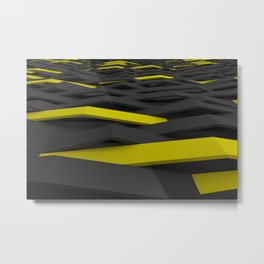 Black and yellow plastic waves Metal Print