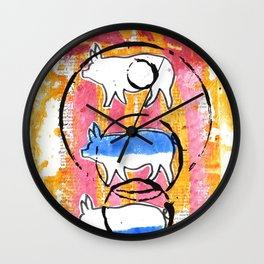 Porcine Trio Wall Clock