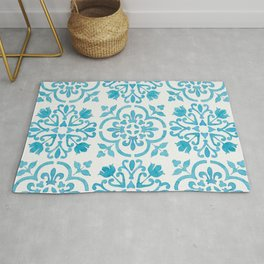 Watercolor Moroccan Tiles - Turquoise Blue Rug
