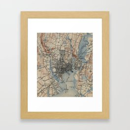 Vintage Map of New Haven Connecticut (1890) Framed Art Print