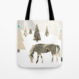 Winter Woods with Horse Tote Bag