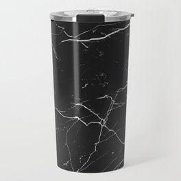 Marble Texture Pattern #1 - Black, White Travel Mug