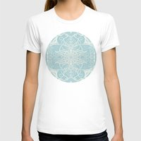 bedding T-shirts featuring Floral Pattern in Duck Egg Blue & Cream by micklyn