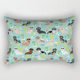Dachshund beach sunshine summer days doxie dachsie gift must have dog gifts Rectangular Pillow