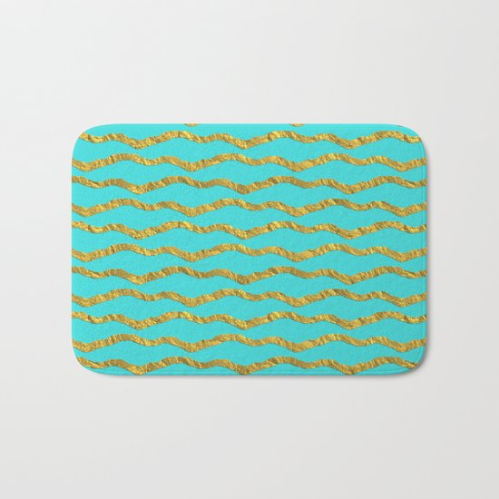 Golden waves - Abstract geometrical pattern on aqua backround Bath Mat