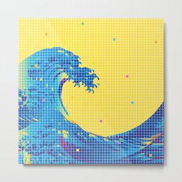 Great Wave in checked pattern_C Metal Print