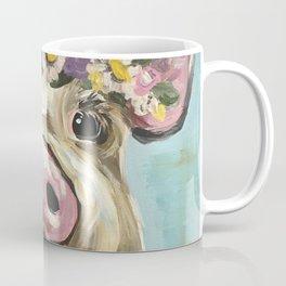 Pig Art, Flower Crown Pig, Farm Animal Coffee Mug